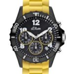 s.Oliver Unisex-Armbanduhr Big Size Chronograph Silikon gelb SO-2328-PC B005N82BE2