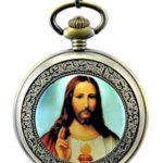Unendlich U Unique Christianity die Jesus Christ mit Handaufzug mechanische Taschenuhr mit R?mer-Ziffer aus Stahl B00LGDD4OO