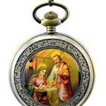 Unendlich U Die Virgin Maria und Jesus Christ mit Handaufzug mechanische Taschenuhr mit R?mer-Ziffer aus Stahl B00LGDD30E