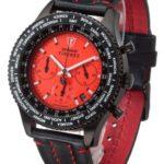 Detomaso Herren-Armbanduhr FIRENZE Chronograph Black Red Dial Leder Quarz B0099MICUK