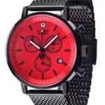 Detomaso Herren-Armbanduhr MILANO Chrono Milanaise Red Classic Chronograph Quarz Edelstahl DT1052-N B00P80HLIG