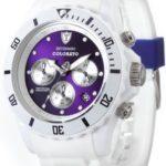 Detomaso Unisex-Armbanduhr COLORATO CHRONO White/Violet Chronograph Quarz Silikon DT2019-F B00AM7JS18