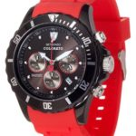 Detomaso Unisex-Armbanduhr COLORATO CHRONO Black/Red Chronograph Quarz Silikon DT2019-B B00APFCC8S
