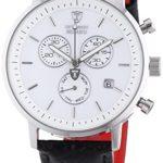 Detomaso Herren-Armbanduhr XL MILANO Chronograph White/Black Quarz Leder DT1052-E B00C92R7O4