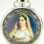 Unendlich U Unique Die Jungfrau Marys von Christentum mit Handaufzug mechanische Taschenuhr mit Skelett aus Stahl,Silber B00LGDD0HU