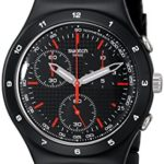 Swatch Unisex-Armbanduhr Black Coat Chronograph Quarz Edelstahl YCB4019AG B005PSR5OG