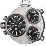 Detomaso Herren-Armbanduhr XL TRIPLO POCKET Taschenuhr Silver Chronograph Quarz DT2038-D B00IOG6YM0