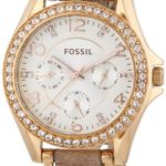 Fossil Damen-Armbanduhr Riley Multifunktion Analog Quarz Leder ES3466 B00I9Y61XO