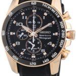 Seiko Herren-Armbanduhr XL Sportura Chronograph Quarz Leder SNAE80P1 B006Y9BWYO
