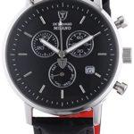Detomaso Herren-Armbanduhr XL MILANO Chronograph Silver/Black Quarz Leder DT1052-A B00C92R2RQ